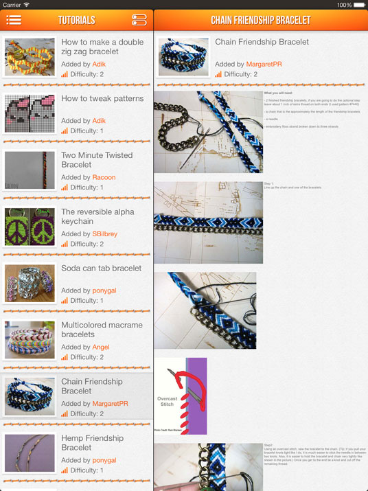 BraceletBook ipad app screenshot