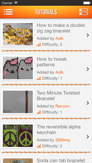 BraceletBook iphone app screenshot